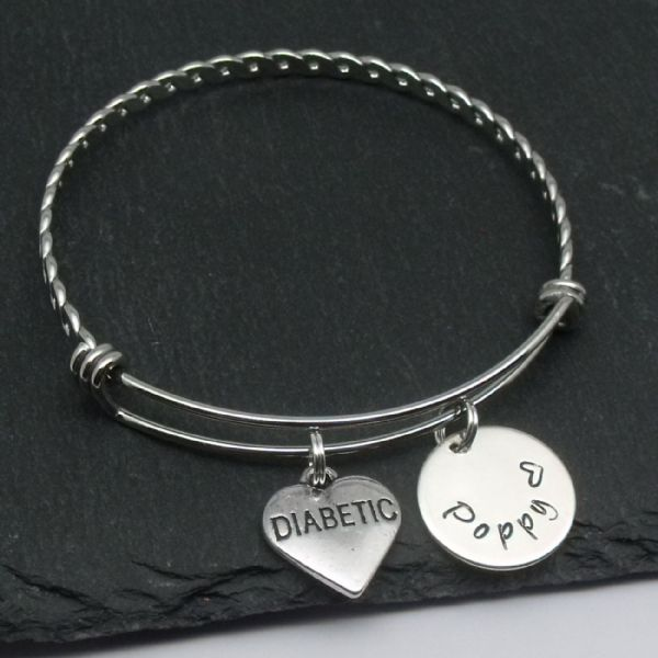 Diabetic charm name bangle bracelet personalised jewellery